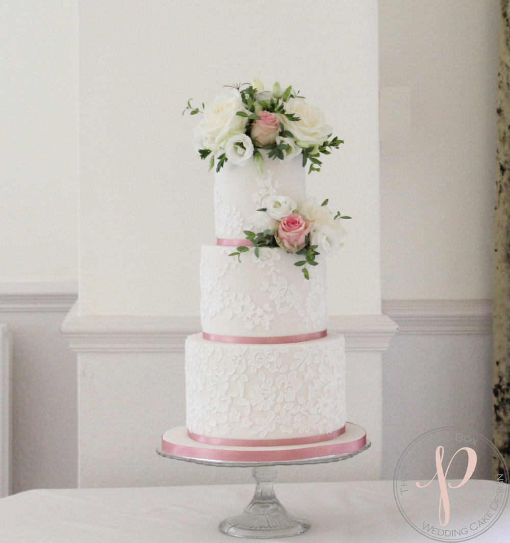 Elegant Wedding Cake With Lace And Fresh Flowers For Charlotte And