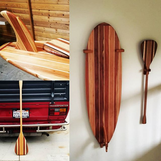 Always happy to see something go from the shop to my customers wall. This one goes out to Santa Cruz. Thanks Ron! Looking good!! #goodvibes #humpday #woodworking #surfsup #surfboard #sup #decor #surfboardart