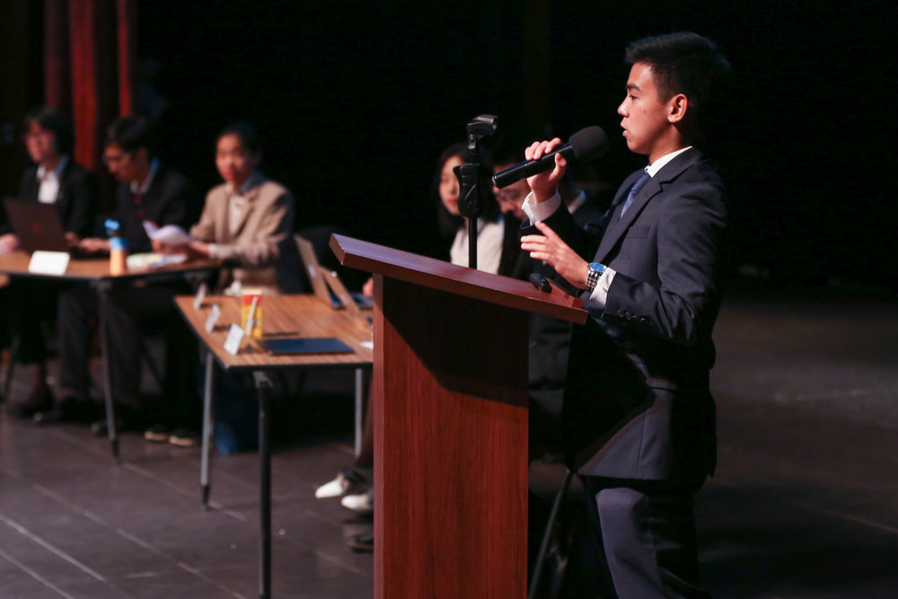 Host and lead organizer Henry C welcomes students from neighboring local schools to the  Youth Leadership Forum  hosted at Concordia. Students discussed emerging trends in artificial intelligence and community architecture, considering both an eastern and western perspective.  (Photo: Kirk Hawkins)