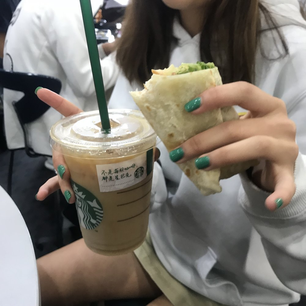 """""""I wanted coffee and the other coffee stores don't sell food,"""" says Starbucks fanatic  Ashley T . """"I love how salty it is. The blend of asian fusion and western food is great!"""""""