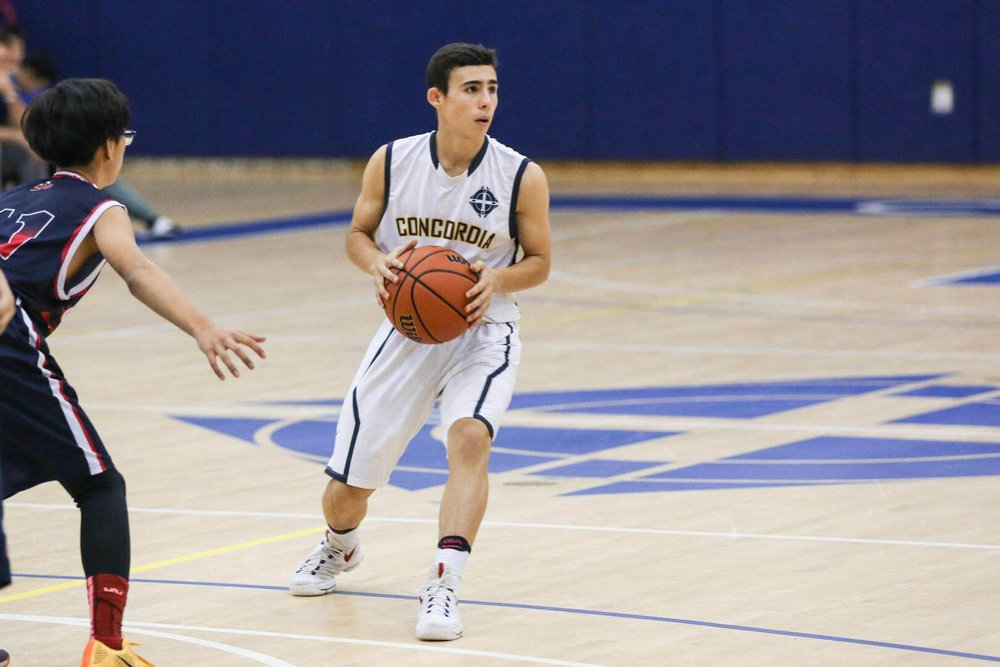 """""""My motivation to continue playing is my love for the sport"""" - Varsity Boys' Basketball player Ryan B. (image:  K. Hawkins )"""