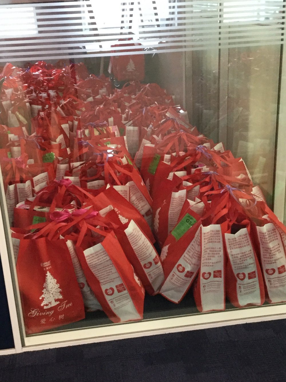 Concordia's Giving Tree bags are packed and ready for this year's distribution.  (image: John H., Concordia Applied Journalism)