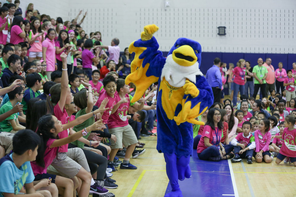 Blaze is captured mid-air, stirring the Concordia spirit by getting the crowd shouting with joy for the schools team!  (image: Daniel Mendes)