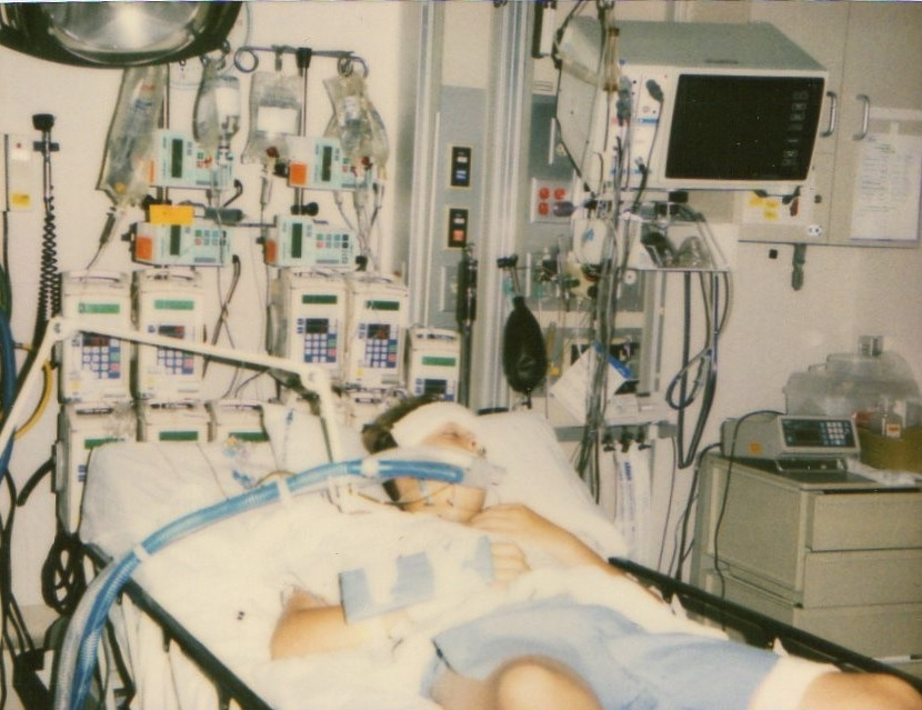 He spent seemingly endless nights in the hospital hooked up to many tubes and cables to keep him alive.  (image supplied)