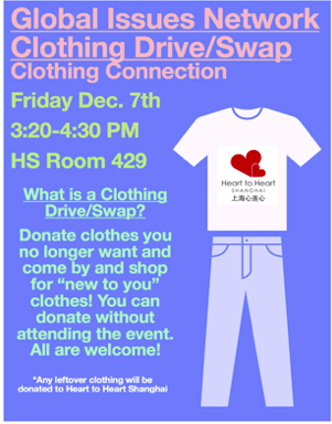 A poster from the Clothing Connection clothing swap that wrapped up semester 1.