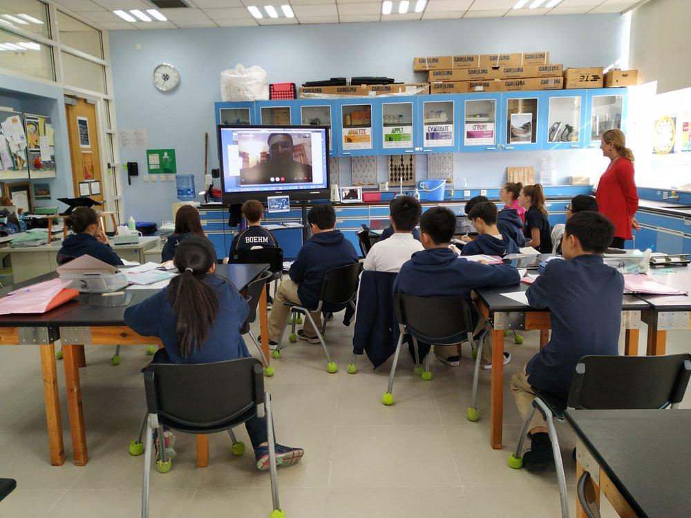 Students skype with Bishwa Bhandari in Tina Harbold's grade 8 Reflective Spiritual Beings class.