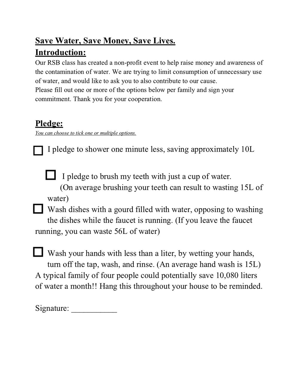 The pledge sheet we made and shared with movie night participants, as well as all of the middle school staff.
