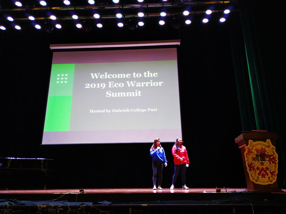 Concordia GINers Rinka and Isabel making the opening comments for the March 23rd Shanghai Eco Summit.