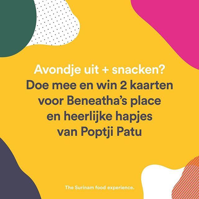 Je maakt nog kans om 2 kaarten en snacks te winnen voor Beneatha's Place. Volg @poptjipatu.nl, @theaterzuidplein en @wellmadeprod en doe mee! #winactie #goodiebag #surinaams #surinaamseten #surinaamsegerechten #koken #winnen #gratis #theater