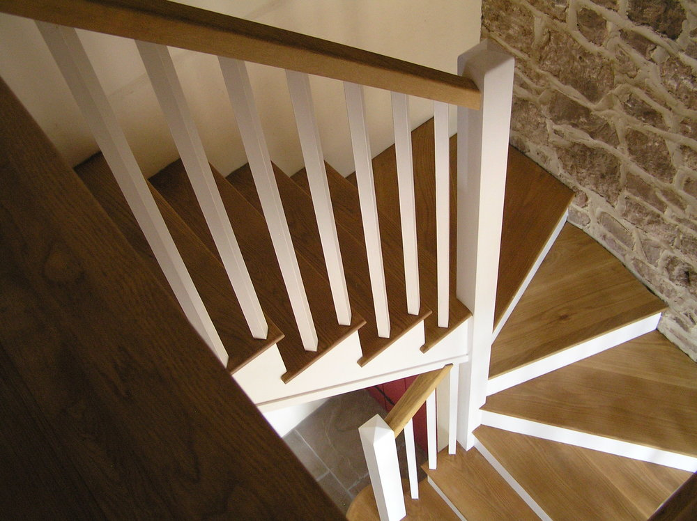 Oak tread and painted strings staircase