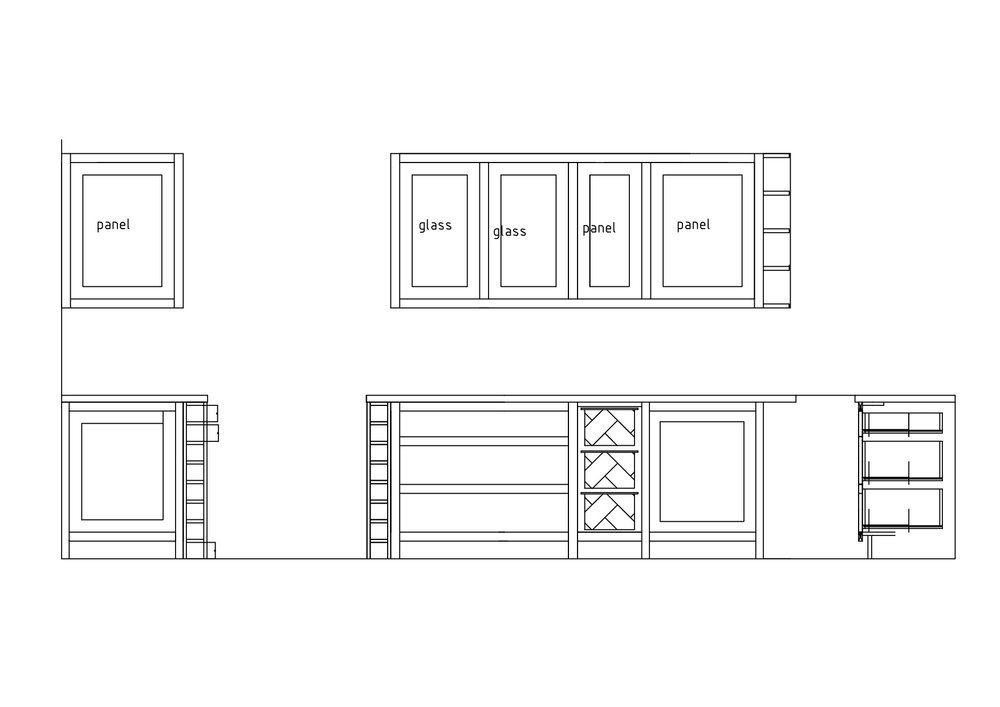 Elevation drawings for a kitchen in Hereford