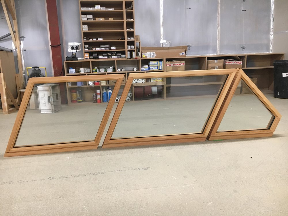 Hardwood Angled frames double glazed and coated with osmo oil