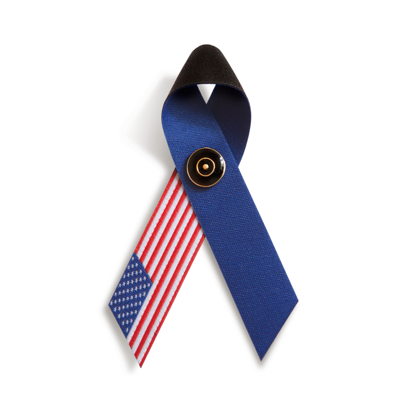 TRAUERSCHLEIFE° U.S.A. mit TRAUERNADEL schwarz/gold * MOURNING RIBBON° U.S.A. and MOURNING PIN° black/gold