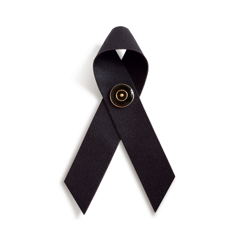TRAUERSCHLEIFE° schwarz mit TRAUERNADEL schwarz/gold * MOURNING RIBBON° black and MOURNING PIN° black/gold