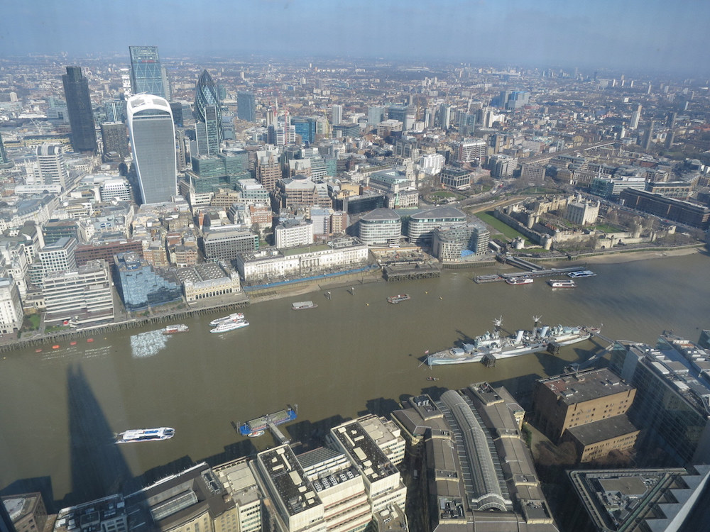 The Gherkin, The Tower of London and HMS Belfast can all be seen from the Shard toilet. Photograph  G Travels (flickr.com)