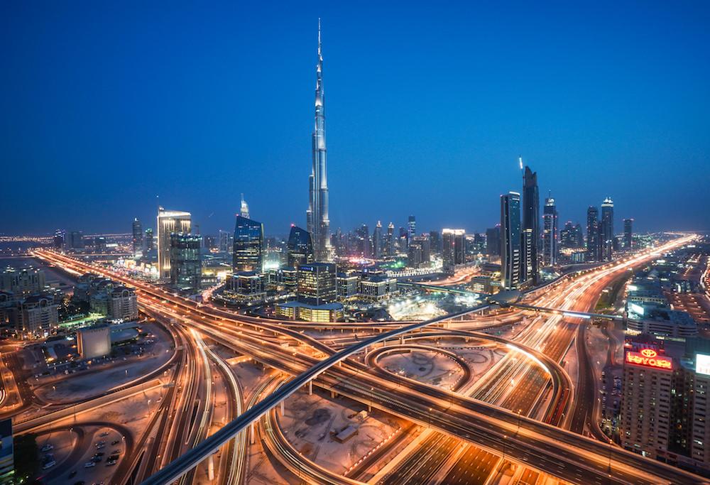 The Burj-Khalifa building in Dubai at night. Photograph  gordon-shukwit
