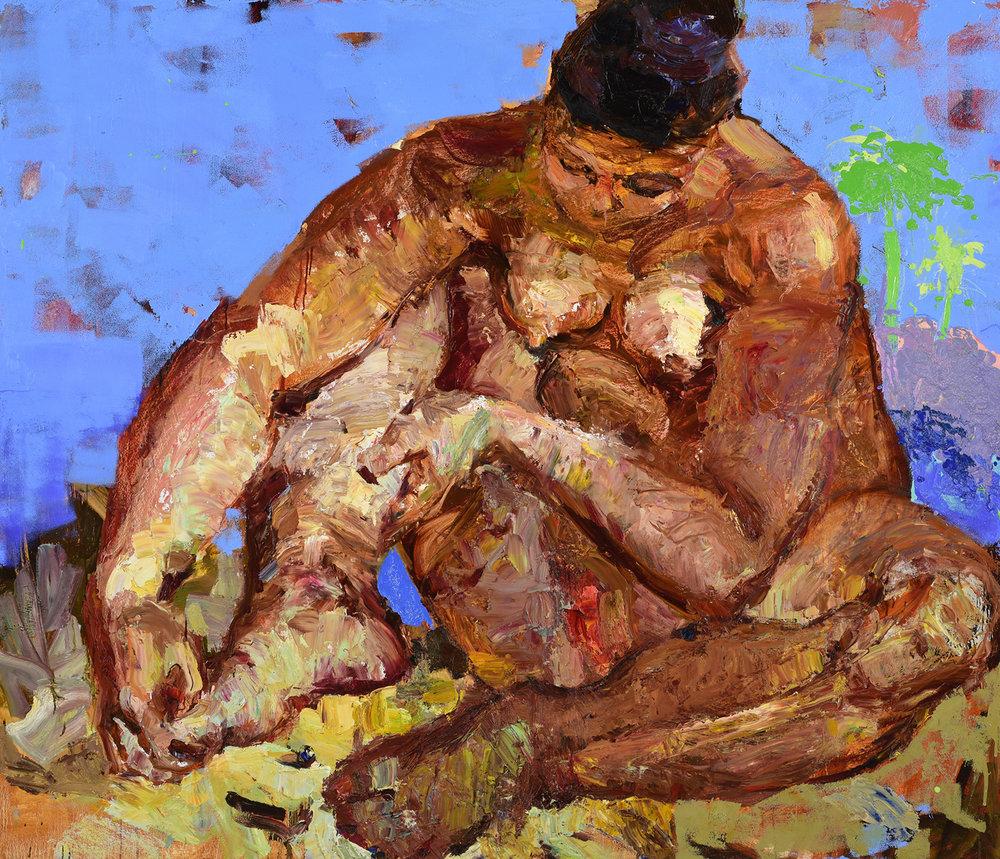 Pedicure , 160 x 180 cm, Oil on cardboard, 2016.