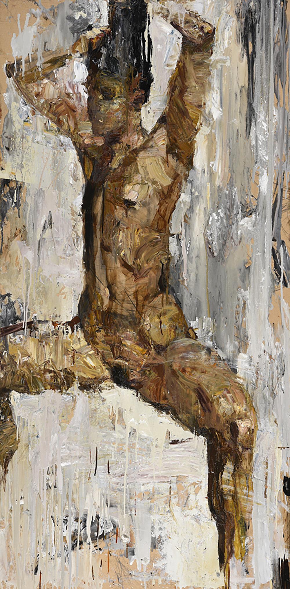 Die Kämmende , 94 x 190 cm, Oil on cardboard, 2015.