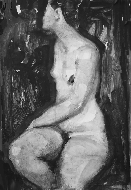 Female Torso , 70 x 50 cm, Ink on paper, 2014.