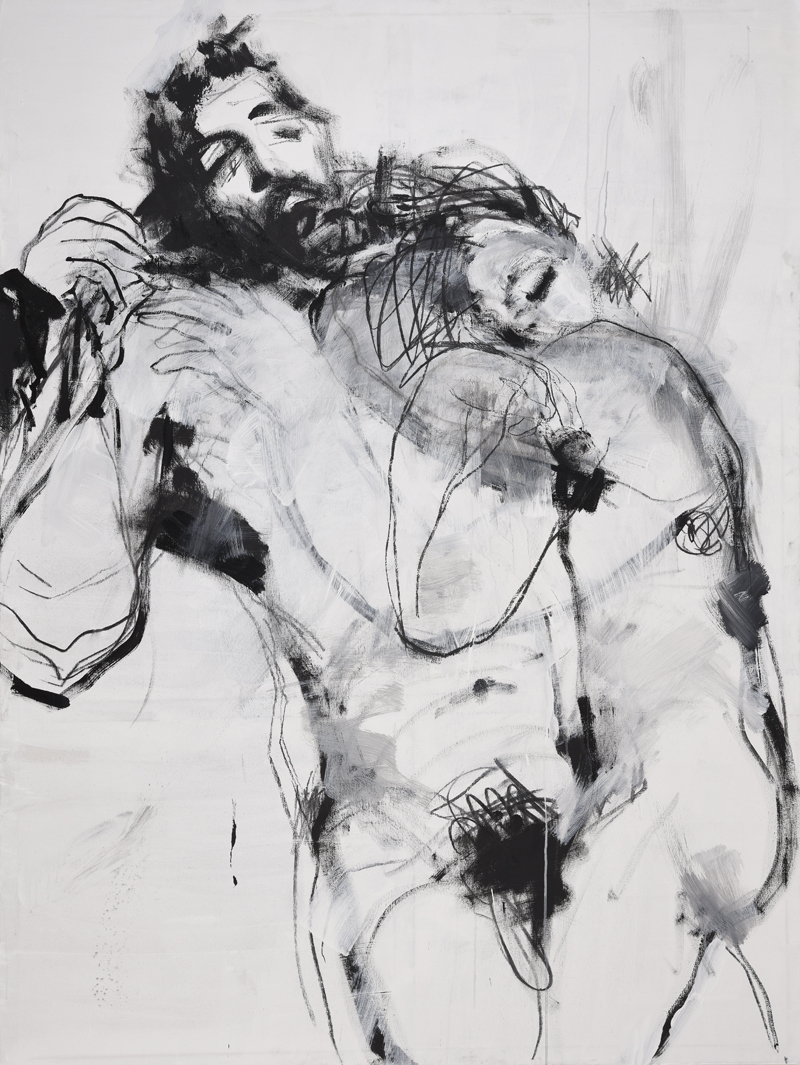 Lovers , 200 x 150 cm, Acrylic and charcoal on canvas, 2018.