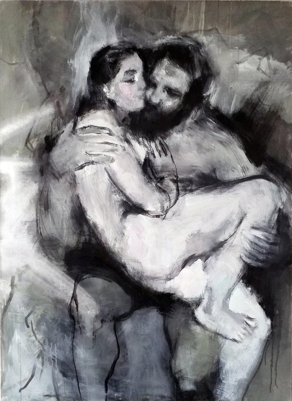Lovers III, 150 x 100 cm, mixed media on canvas, 2018