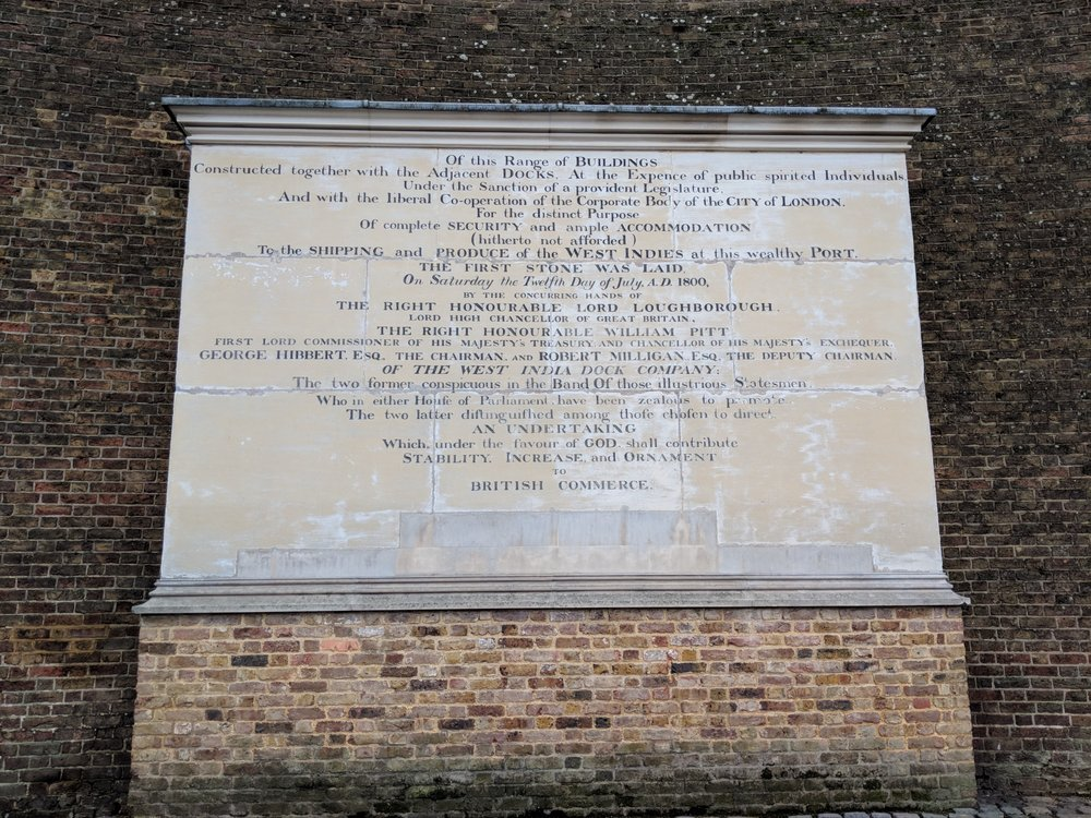 The dedication stone of the West India Docks, Canary Wharf. From an age when an entrepreneurial voyage meant real ships and life-threatening risks.