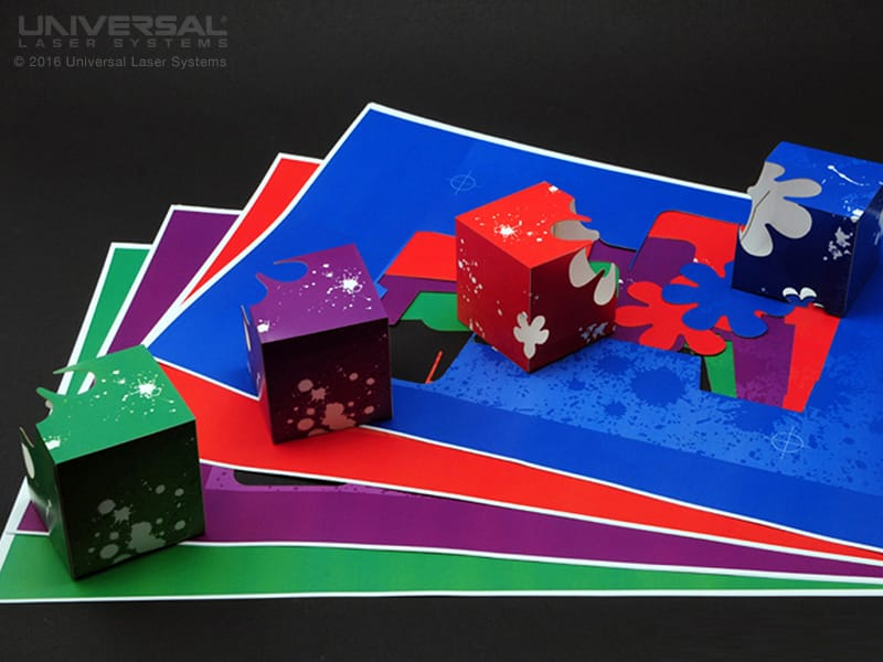 paper based materials card stock laser cutting a three dimensional box with a 10.6 micron co2 laser