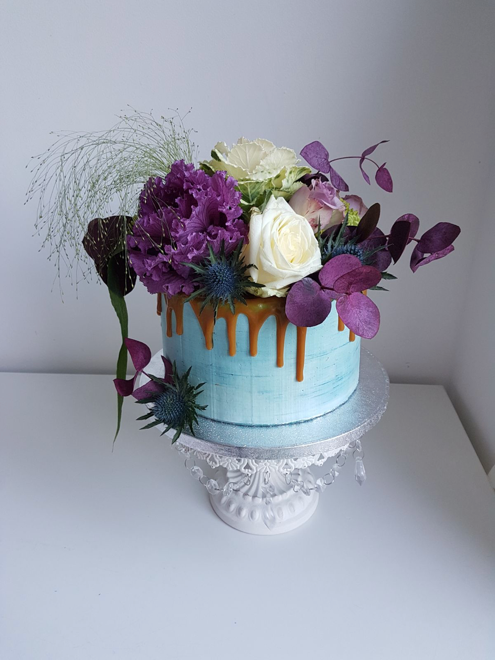 REBECCA SEVIOUR DOTTY ROSE CAKERY BIRTHDAY CAKE BLUE FLORALS