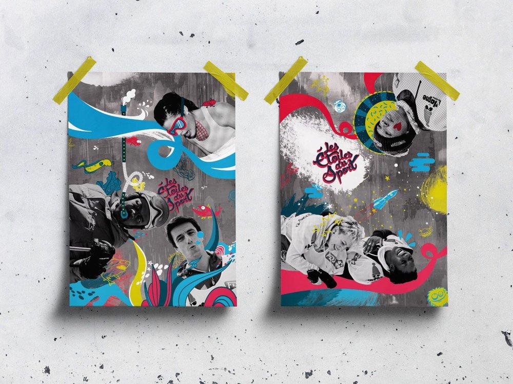 Habillage du lieu - Affiches et bâches crées pour l'habillement du Club Med de La Plagne lors de la semaine de l'évènement.Bâches en collaboration avec Camille Lequien.