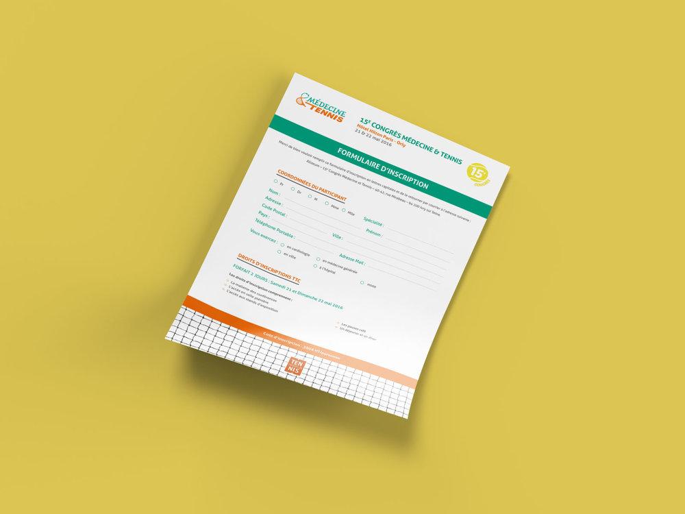 Formulaire d'inscription - Formulaire A4 envoyé aux personnes souhaitant s'inscrire au congrès.