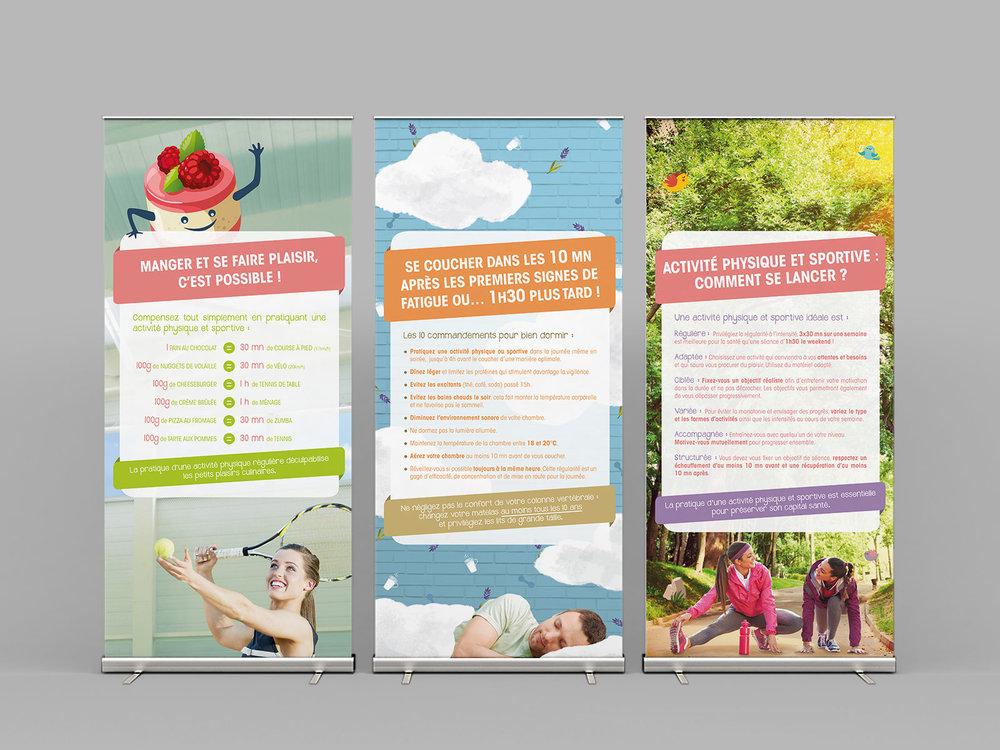 Panneaux d'exposition - Exposition itinérante modulable, composée de 6 panneaux, mise à disposition dans les entreprises (nutrition, sommeil, activité physique, hydratation, TMS).
