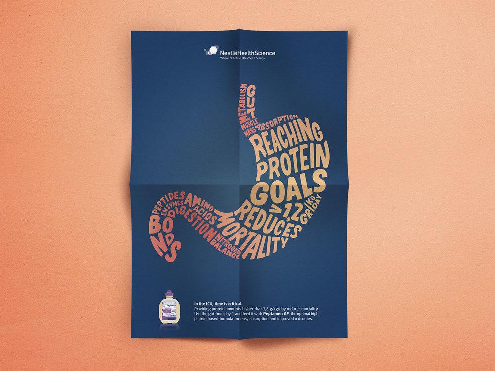 Campagne Peptamen® - Proposition de visuel pour une campagne de communication faite pour mettre en avant l'importance d'atteindre les besoins en protéines dans le cas d'une dénutrition chez un patient.