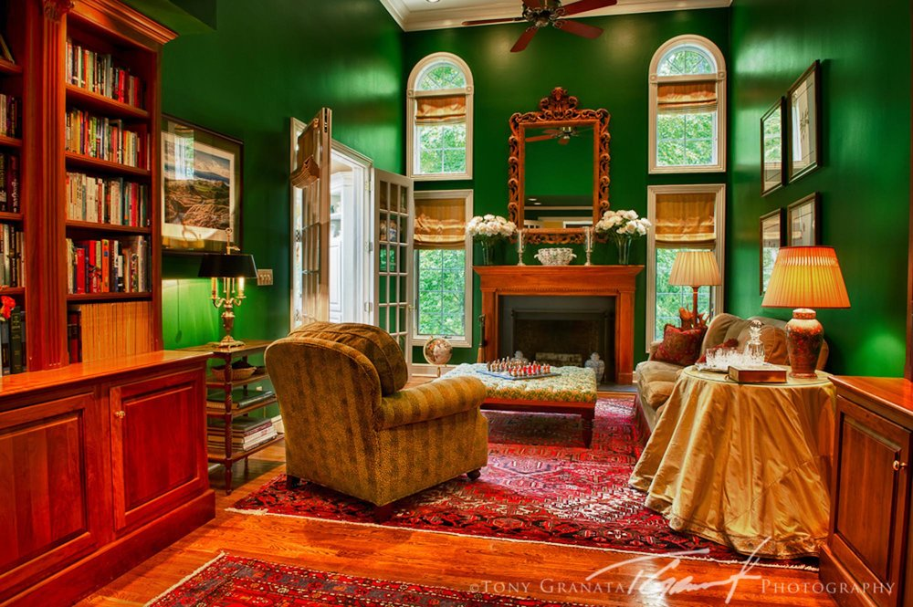 Luxury living room in green paint and spacious cabinet