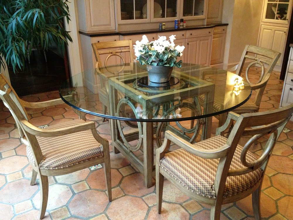 Glass dining table for four