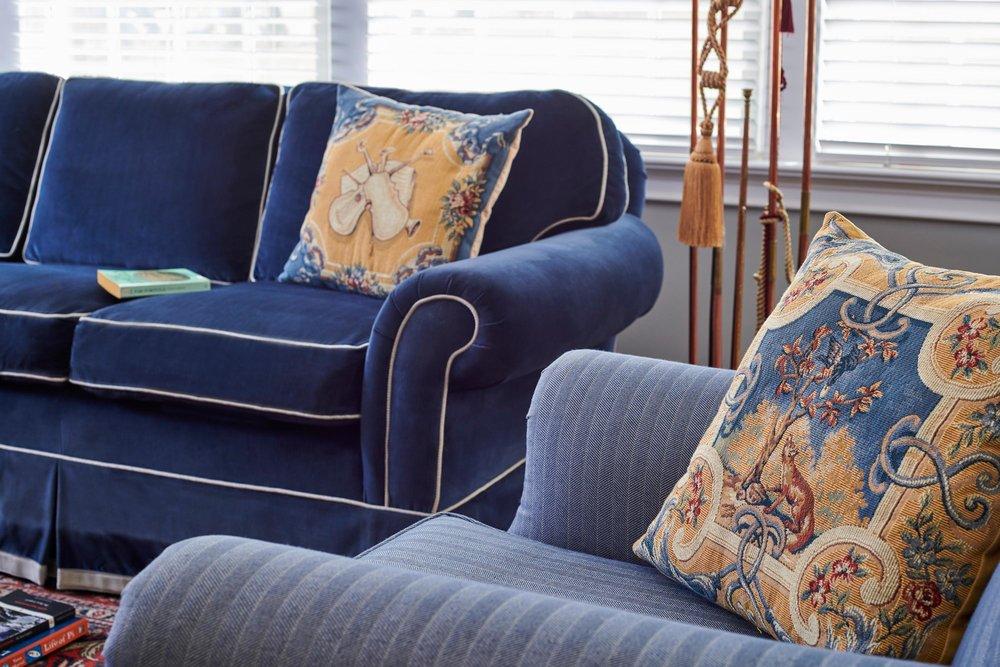 Sofa and arm chair with custom pillows