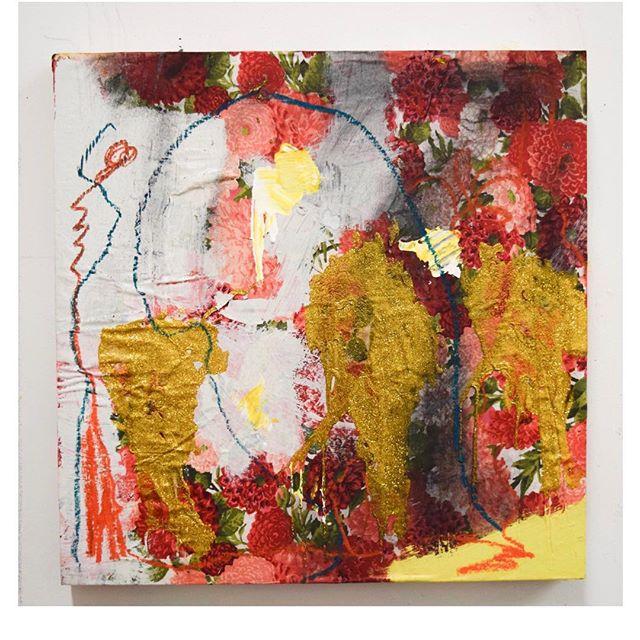 "Work in Progress  Suburban Prayer 9x14""  Acrylic , Glitter, Oil Pastel, Graphite"