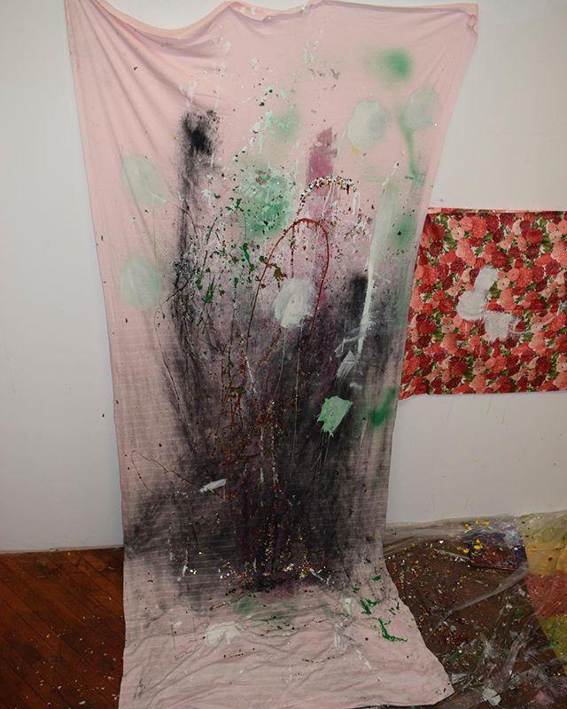 Work in Progress ,Confetti, Glitter , Acrylic on Fabric  9x3'