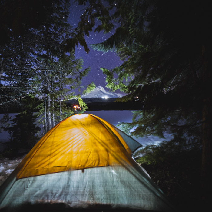 The cold night at Trillium Lake where our lens and camera froze over!