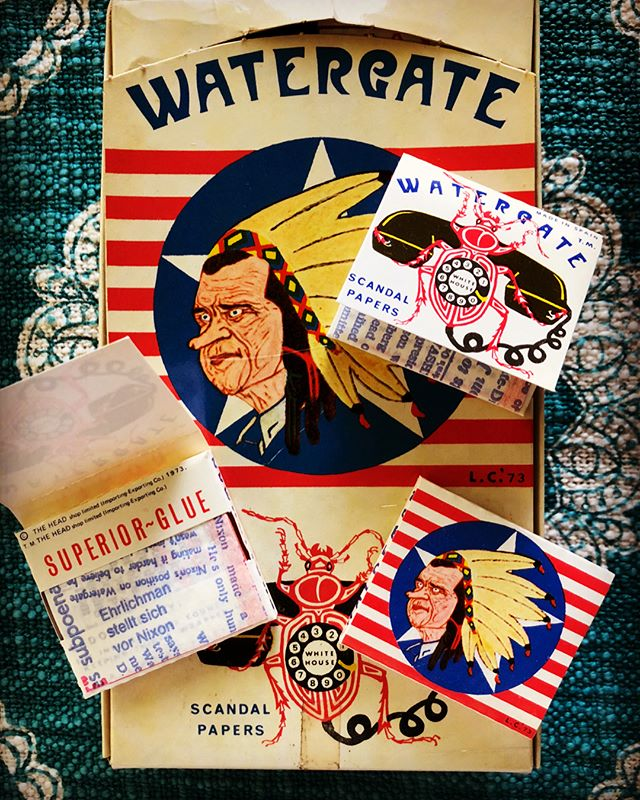 Political rolling papers have been around since your daddy was selling dimes of #AcapulcoGold at Dead shows. These #Watergate Scandal Papers are from 1973, the year #Nixon resigned. We would like to have a #jeffsesh with the artist. Are you out there??? #respect #OG 🙌👏🤝 🇺🇸 #trollingpapers #protestpapers #rollingpapers #goodpeople