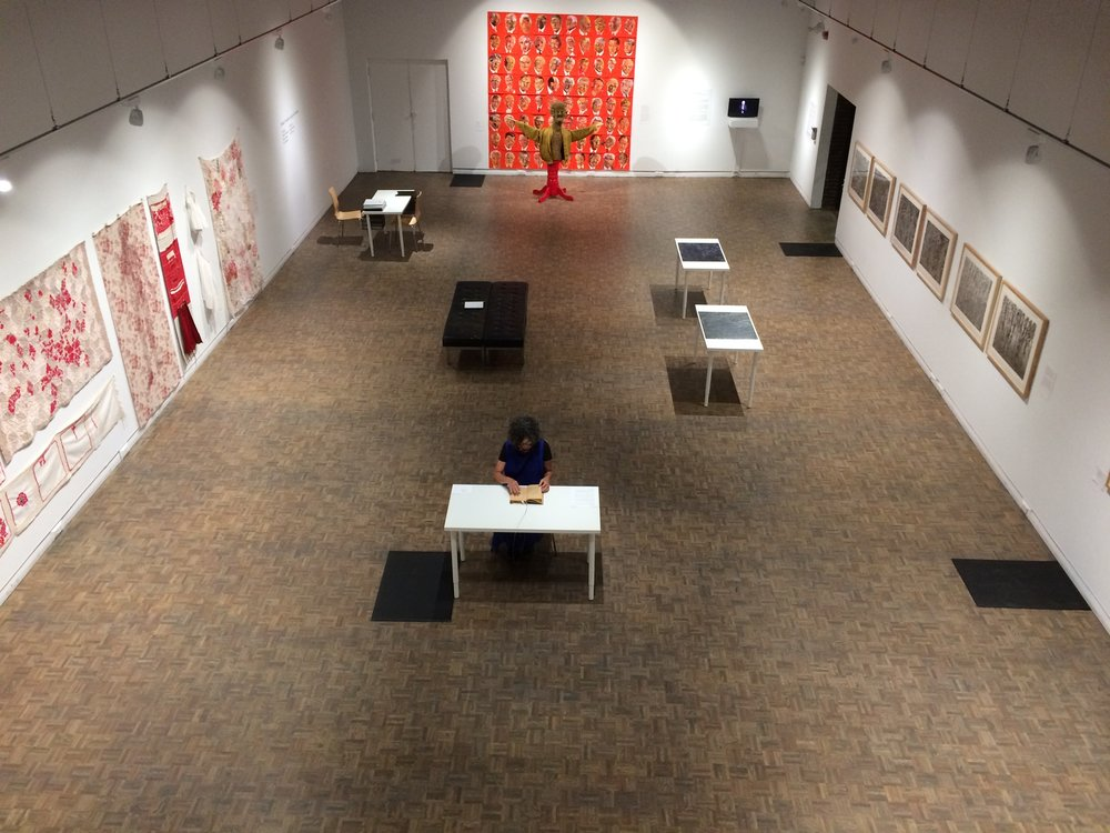A Story  installed in Mount Saint Vincent University Gallery as part of  Bodies in Translation: Age and Creativity, 2017 . Also shown (l-r), works by Anna Torma, Omni Nordman and Cecil Day.