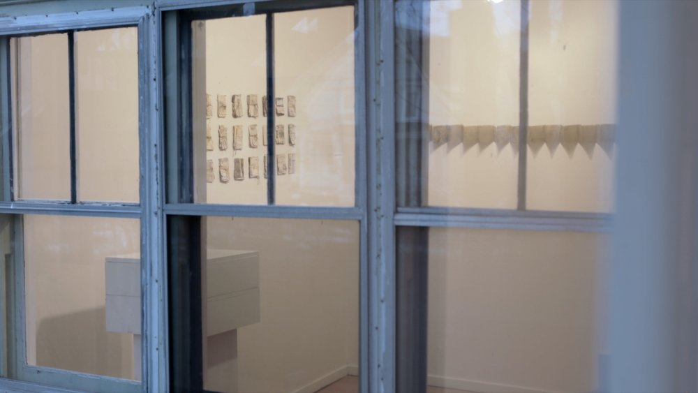 Mym Gallery, ARTsPLACE, Annapolis Royal (view of installation through gallery window) / 2018