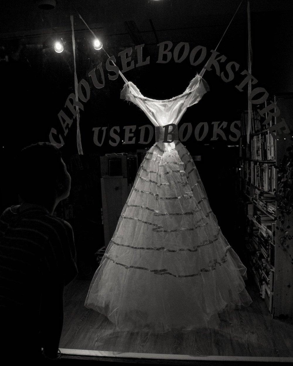 Esther's Narrative  / Found wedding dress, book pages, beeswax, thread / 150 cm x 90 cm x 90 cm (5' x 3' x 3') / 2006 (this installation 2012) photo: John McCarthy