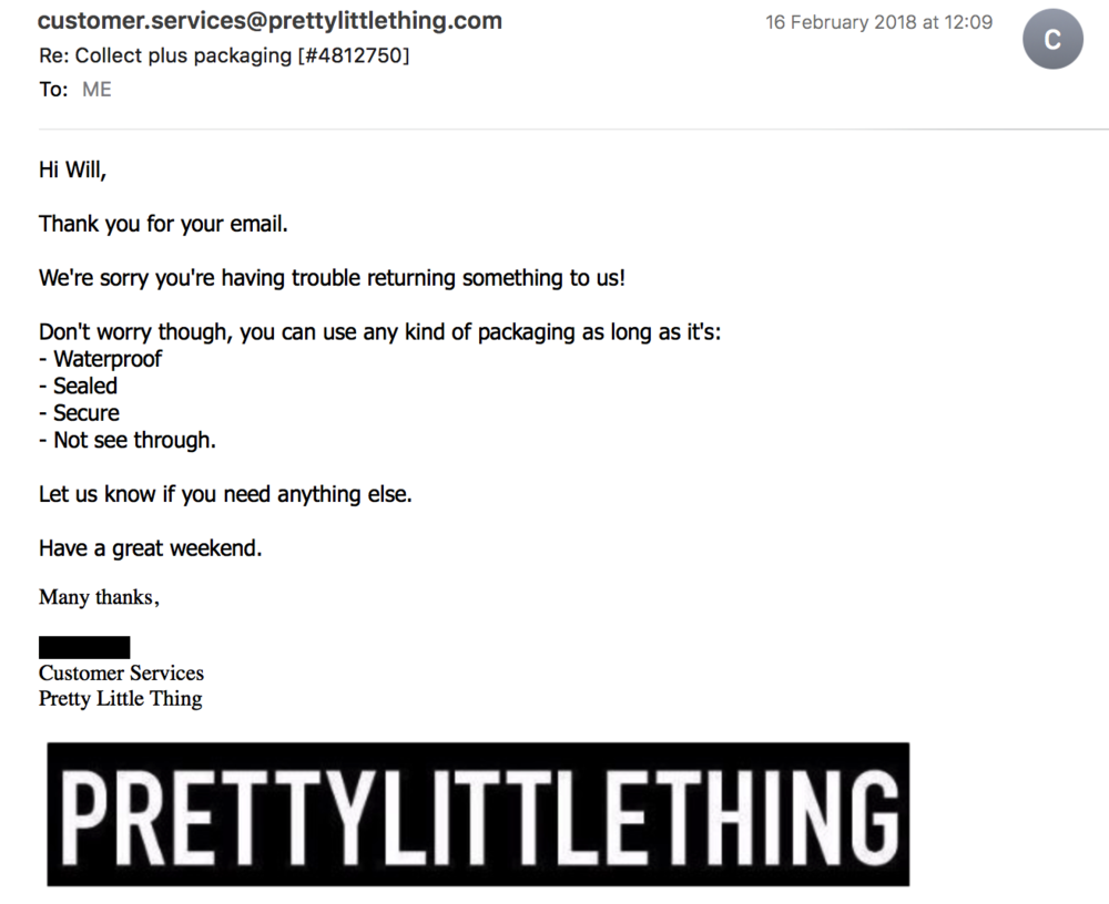 Pretty Little Thing returns email packaging