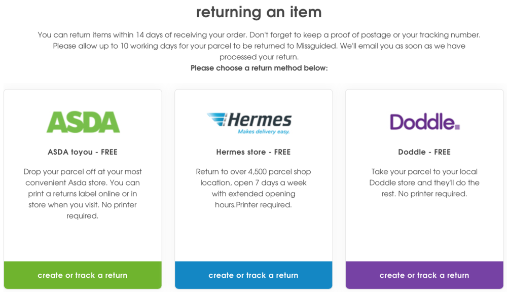 MISSGUIDED's 3 return options