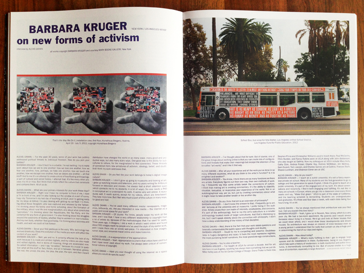 Alexis Dahan interviews Barbara Kruger in Purple Magazine #22  (click on image for text)  * * *