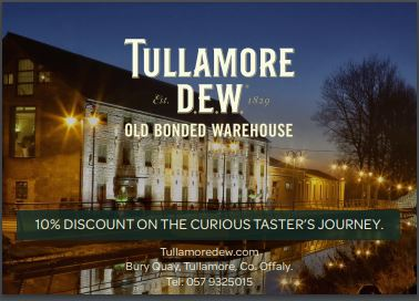 Tullamore D.E.W is a legendary triple distilled, triple blend Irish WHISKEY.ENJOY 10% OFF THE CURIOUS TASTER'S JOURNEY WHEN YOU PRESENT THIS VOUCHER. -