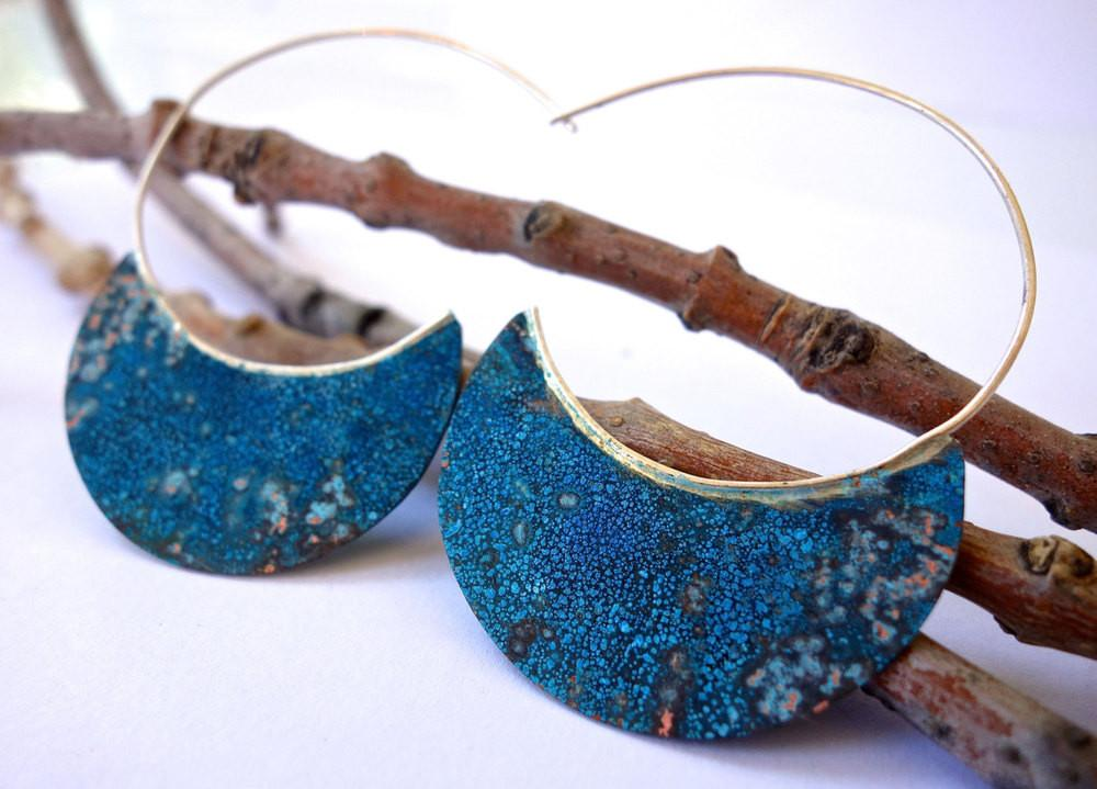 Patina Copper Hoops by Red Bud Jewelry