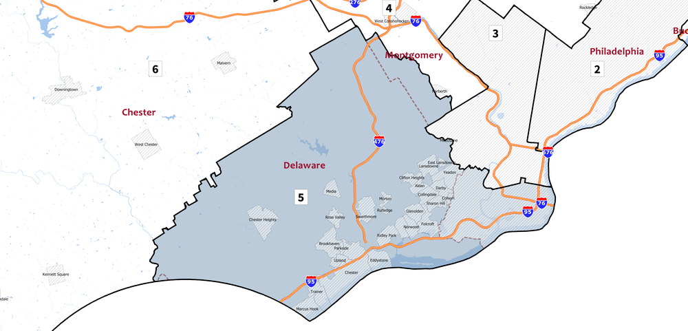 The new 5th District includes DelCo, MontCo and South Philly.