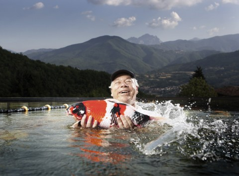 Joseph Zuritsky with Koi Fish. Credit:  Michael Cogliantry