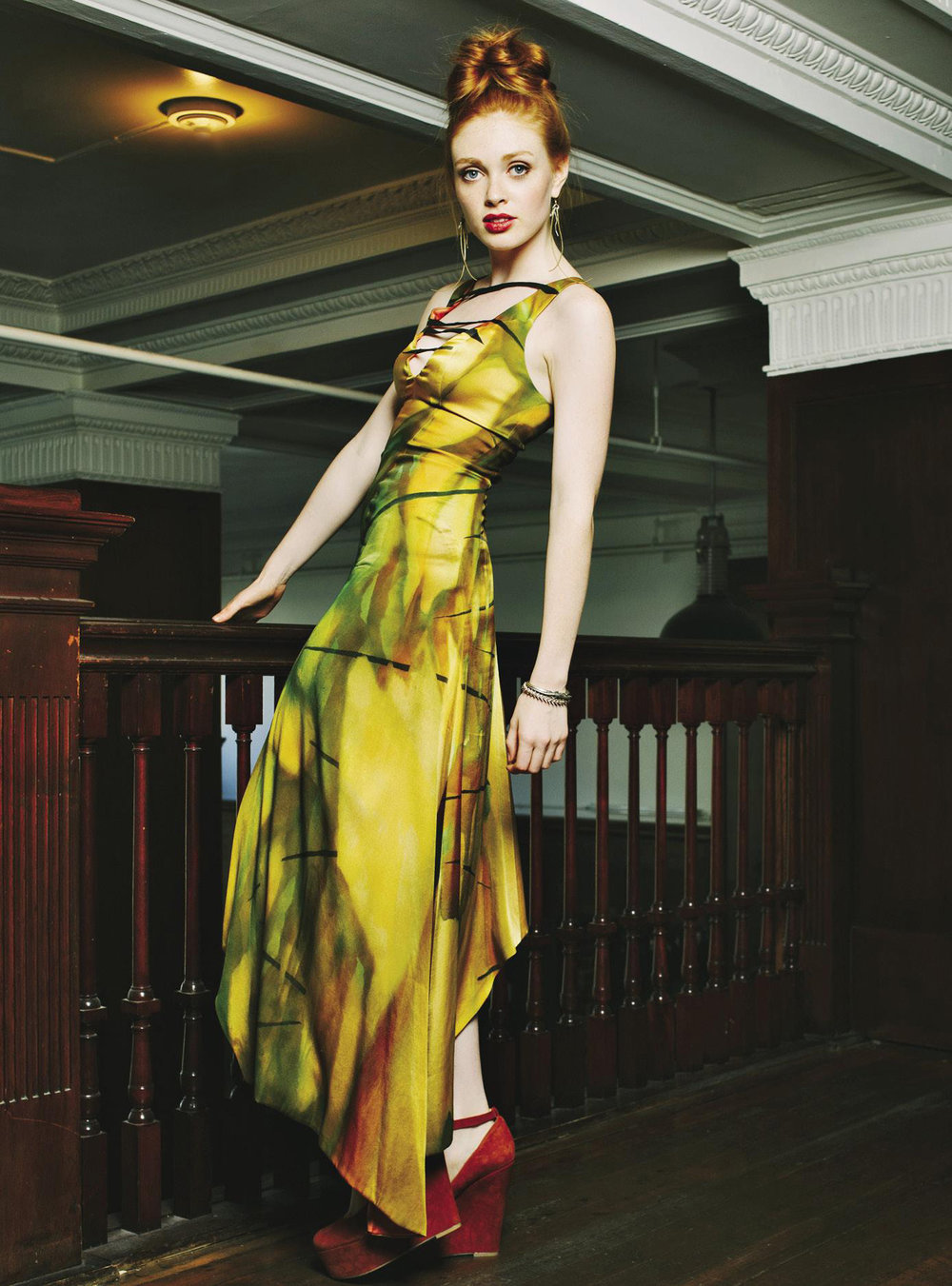 Photo taken by Lavenda Memory for About Face Magazine MYTHAUS hand painted silk couture dress collaboration with artist Robb Kramer